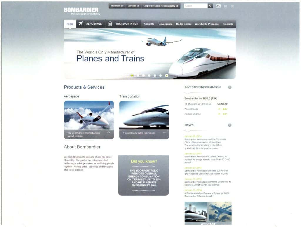 Bombardier Website Win At Web