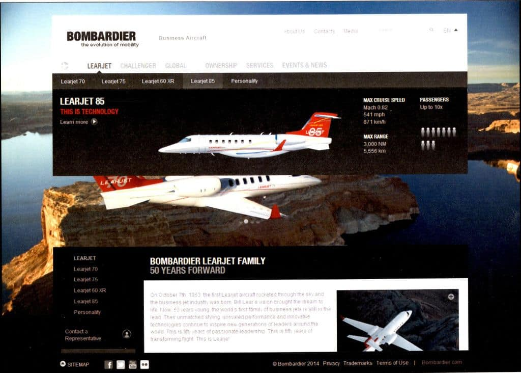 Bombardier Business Aircraft Website
