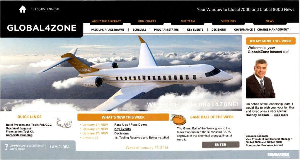 Global 7000 8000 Intranet Website