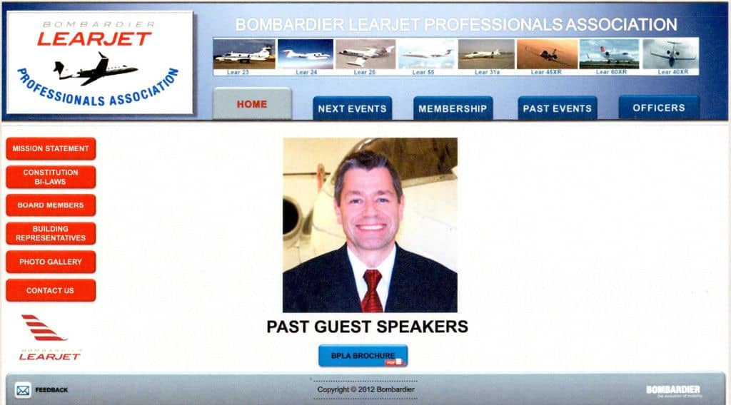 Learjet Intranet Professionals Association Website