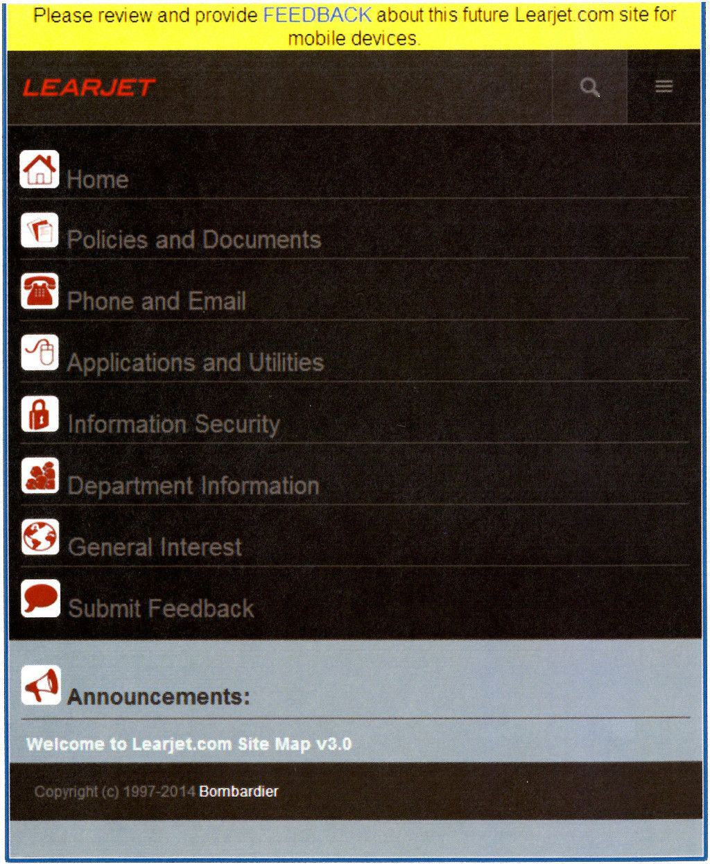 Learjet Intranet Portal Mobile App Menu Website