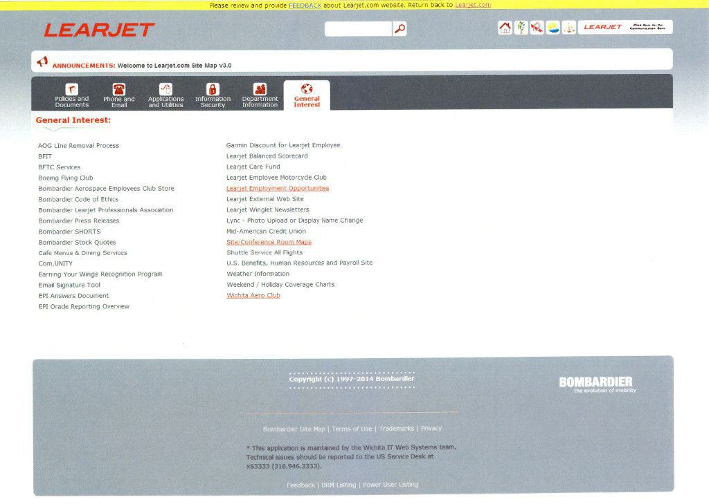Learjet Intranet Portal Website